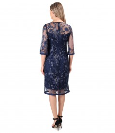 Lace evening dress with sequins