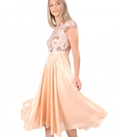 Midi evening dress with lace bodice with sequins