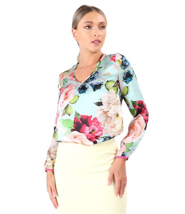 Natural silk blouse with long sleeves