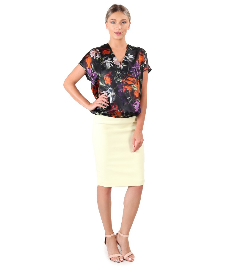 Casual natural silk blouse with office skirt