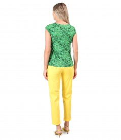 Textured cotton pants with printed elastic jersey blouse