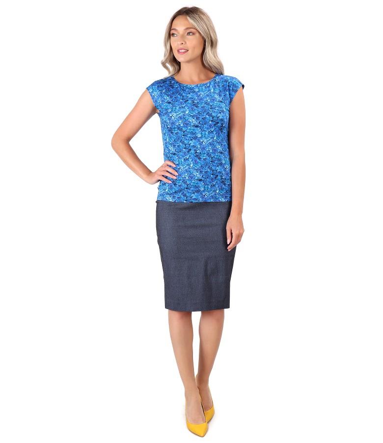 Elastic denim skirt with elastic jersey blouse
