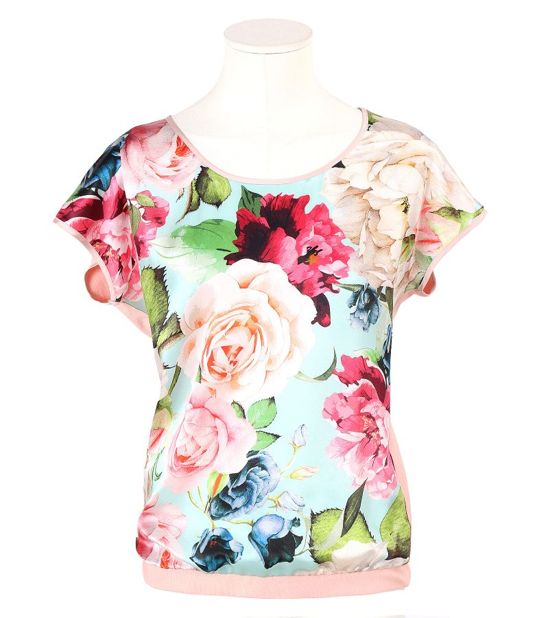 Blouse with natural silk front printed with flowers