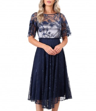 Midi dress with bust with sequin embroidery