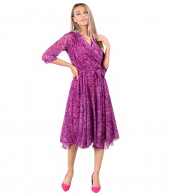 Printed veil elegant dress with a velvet bow