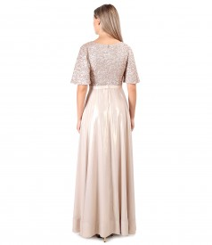 Long dress with bust with sequins