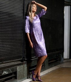 Casual dress made of natural silk with floral motifs