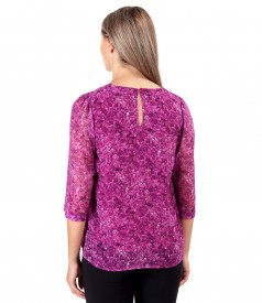 Casual veil blouse with pleats at the decolletage