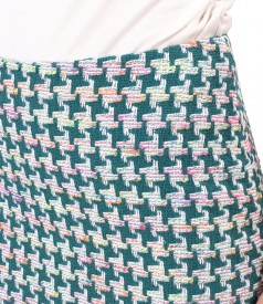 Office skirt made of multicolored curls with cotton
