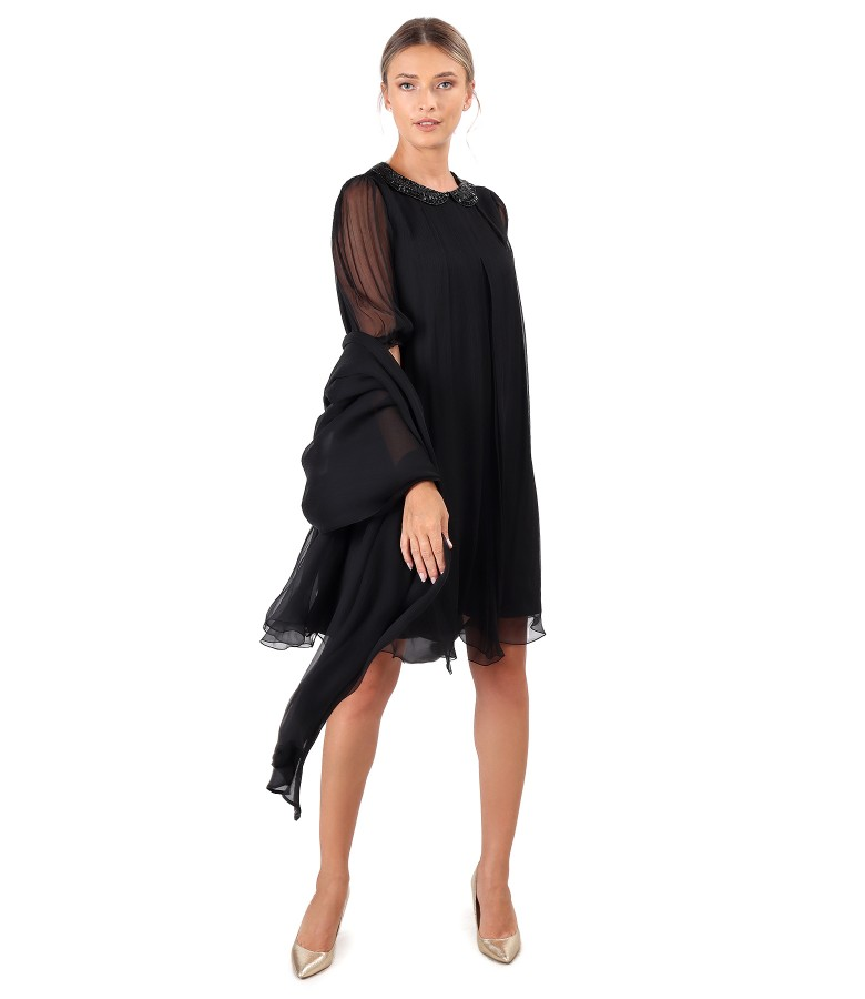 Dress and shawl made of natural silk veil