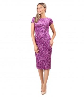 Elastic velvet dress printed with floral motifs