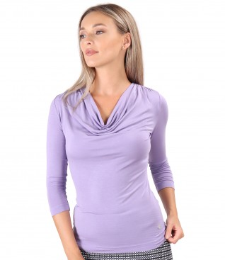Viscose elastic jersey blouse with pleated neckline