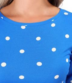 Polka dot printed elastic jersey blouse