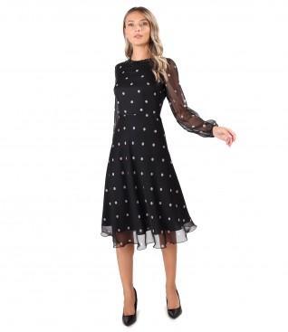 Polka dot printed veil dress