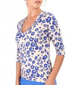 Printed viscose elastic jersey blouse