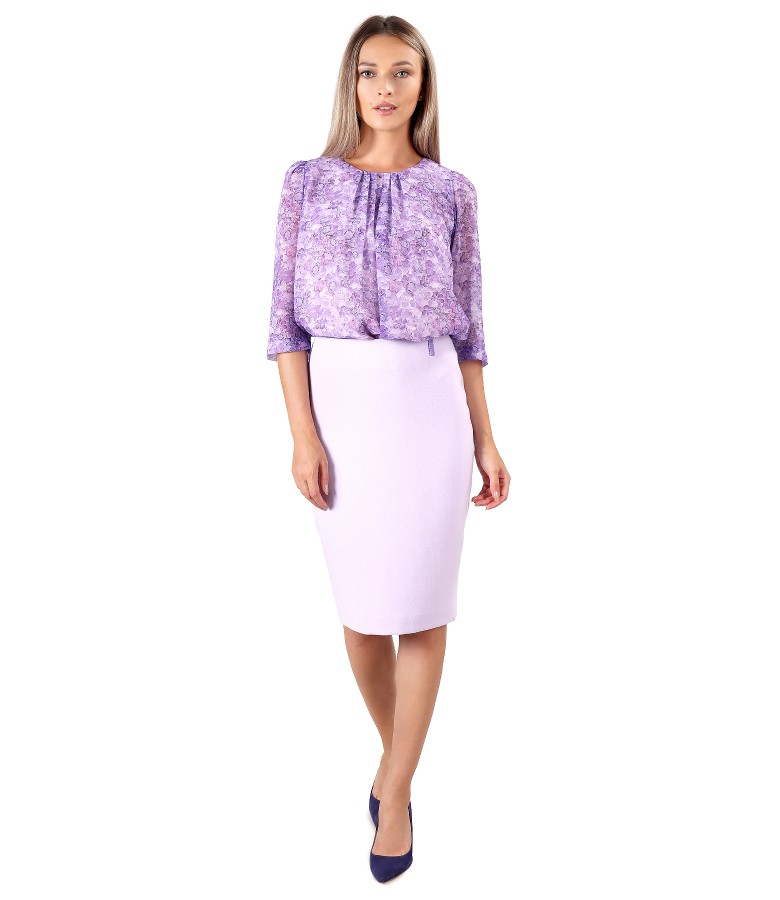 Elegant outfit with printed veil blouse and office skirt