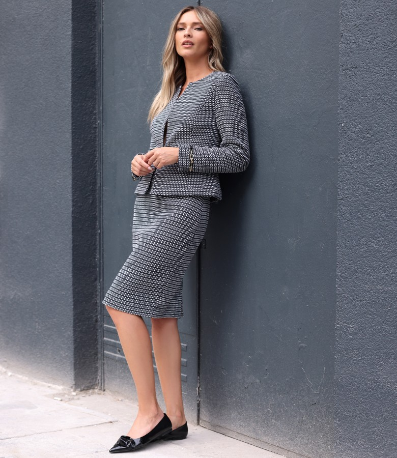 Office women suit with jacket and cotton loop skirt
