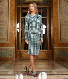 Office women suit with skirt and jacket made of multicolored curls with cotton