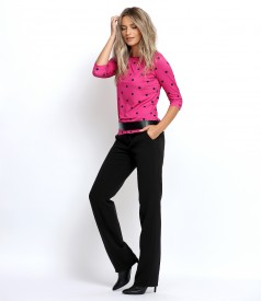 Polka dot jersey blouse with straight pants