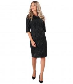 Thick brocade cotton office dress