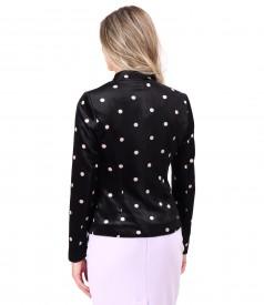 Elastic velvet jacket printed with dotts