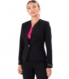 Elastic fabric jacket with decorative chain