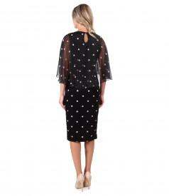 Polka dot velvet dress with polka dot printed veil cape