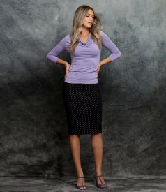 Cotton office skirt with blouse with pleated decolletage