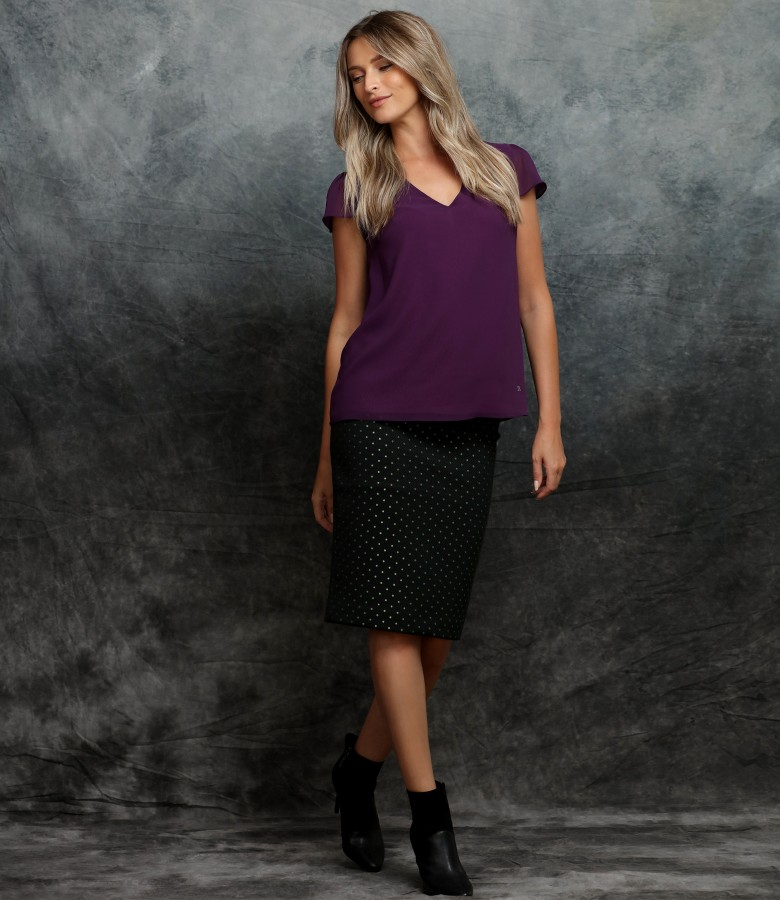 Office outfit with cotton skirt and veil blouse