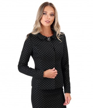 Thick brocade cotton office jacket with detachable brooch at the neckline