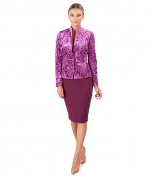 Printed velvet jacket and elastic fabric office skirt