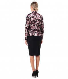 Elegant outfit with printed velvet jacket and office skirt.