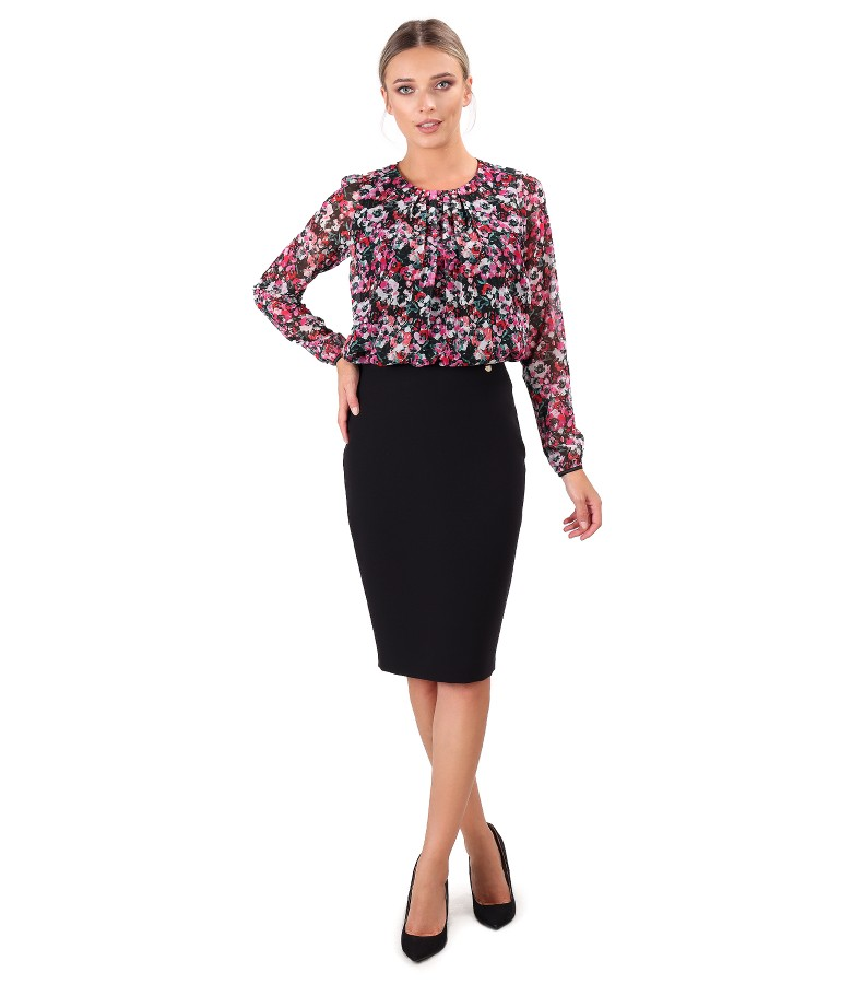 Printed veil blouse with office skirt