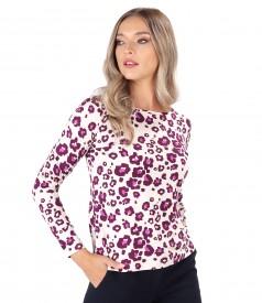 Printed viscose long-sleeved blouse