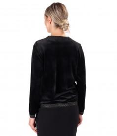 Sweatshirt made of elastic velvet