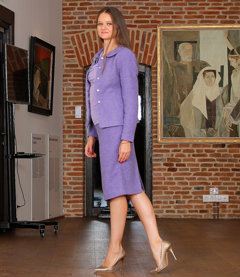 Office women suit with jacket and skirt made of wool and alpaca