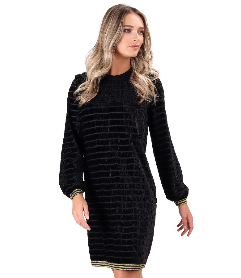 Striped velvet dress with elastic at the ends