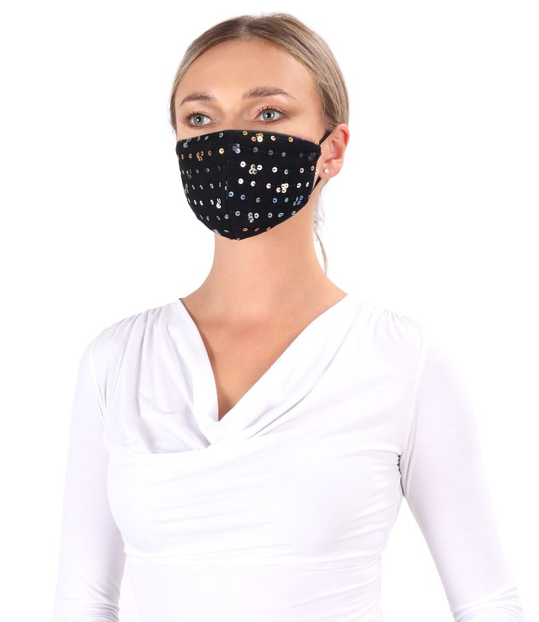 Reusable lace mask with sequins