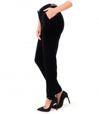 Black elastic velvet pants with elastic at the waist