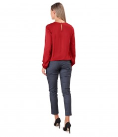 Elegant viscose satin blouse and denim pants