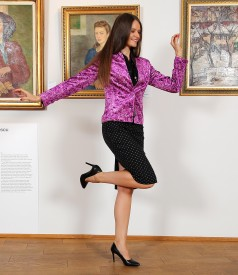 Office outfit with velvet jacket and cotton skirt
