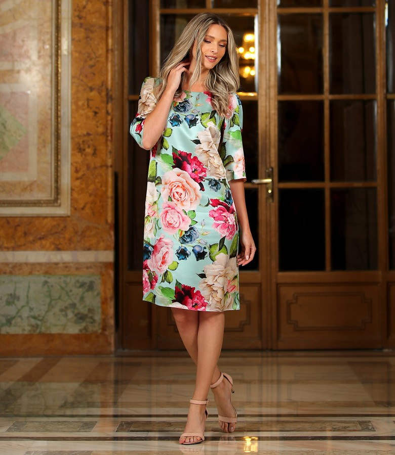 Natural silk dress printed with floral motifs