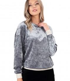 Shiny elastic velvet sweatshirt