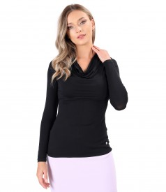 Elastic jersey blouse with pleated neckline
