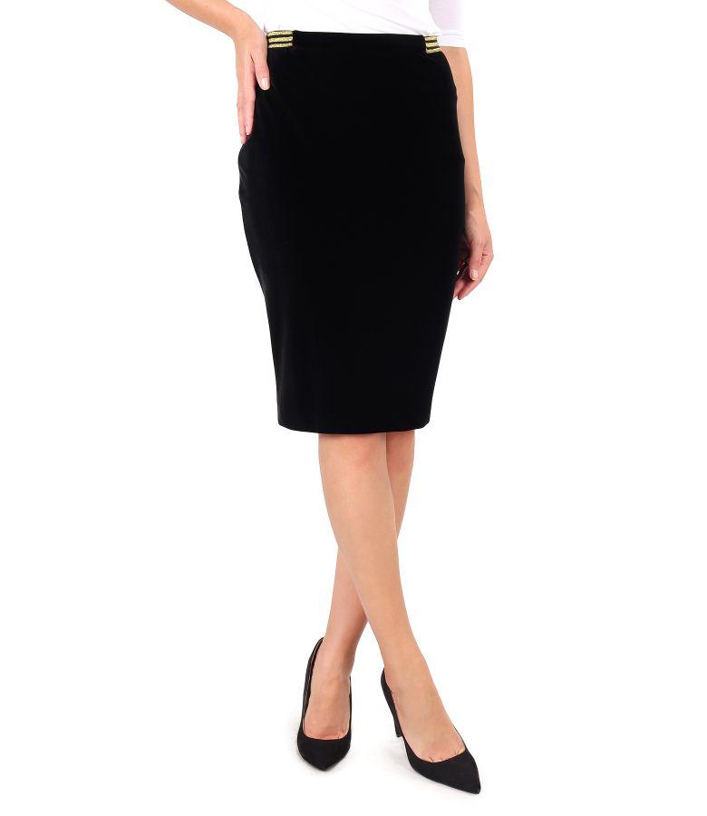 Velvet tapered skirt with gold elastic at the waist