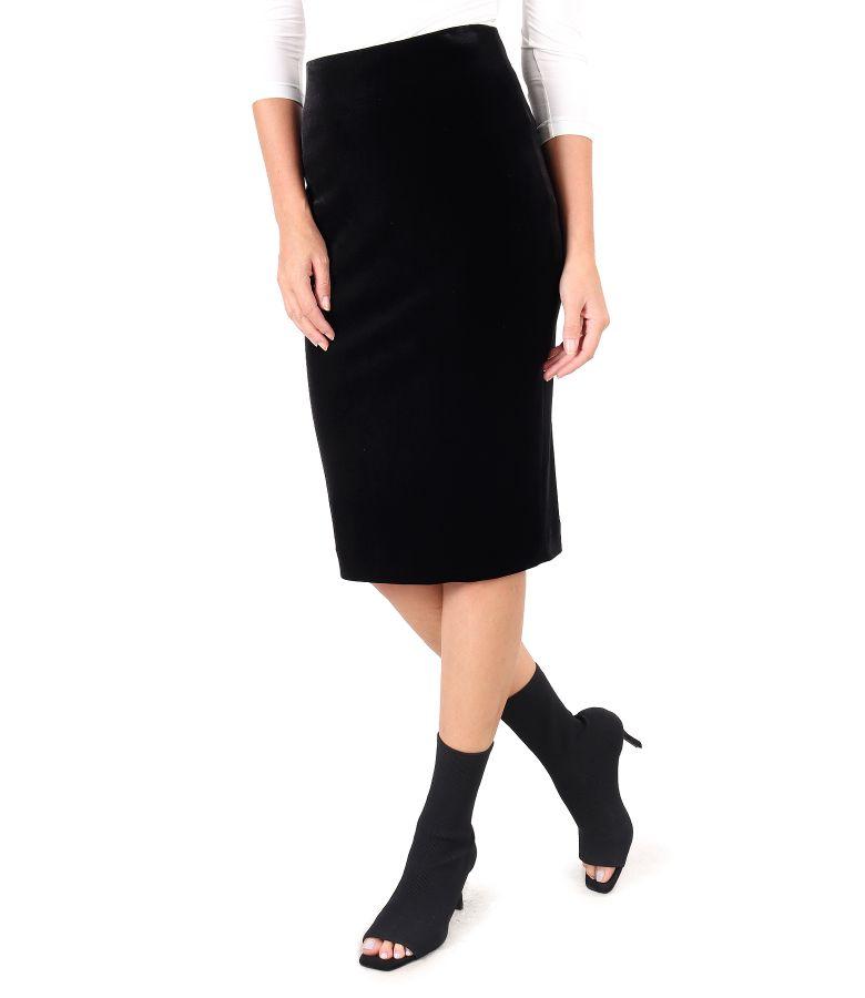 Black elastic velvet tapered skirt