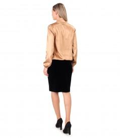 Satin viscose blouse with black elastic velvet skirt
