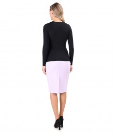 Office outfit with tapered skirt and blouse with pleated neckline