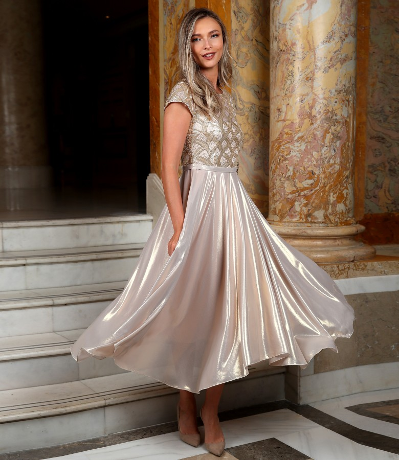 Midi evening dress with pearlescent veil skirt