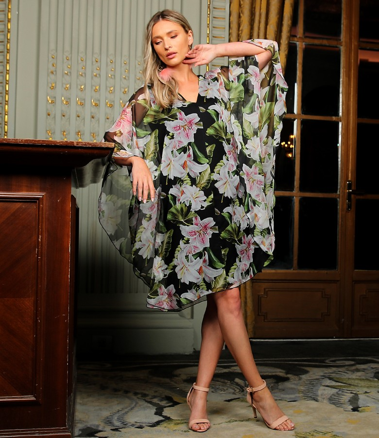 Butterfly dress printed with floral motifs